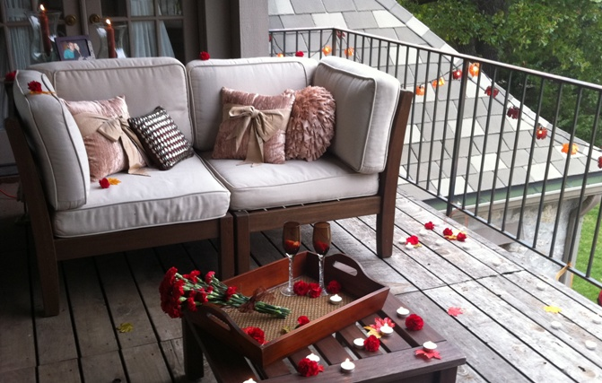 Pottery barn inspired engagement proposal on balcony