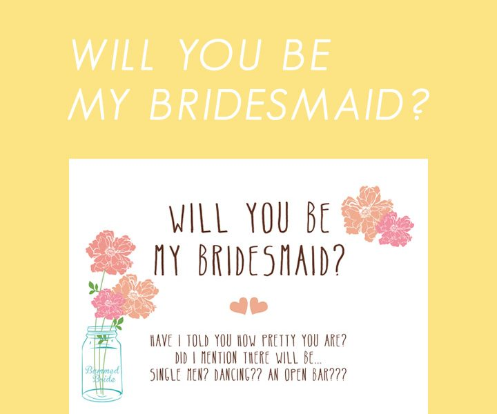 Will you be my bridesmaid? Free Printable
