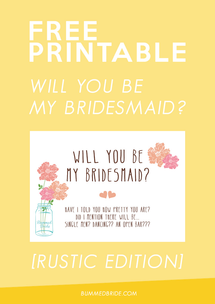 free printable will you be my bridesmaid