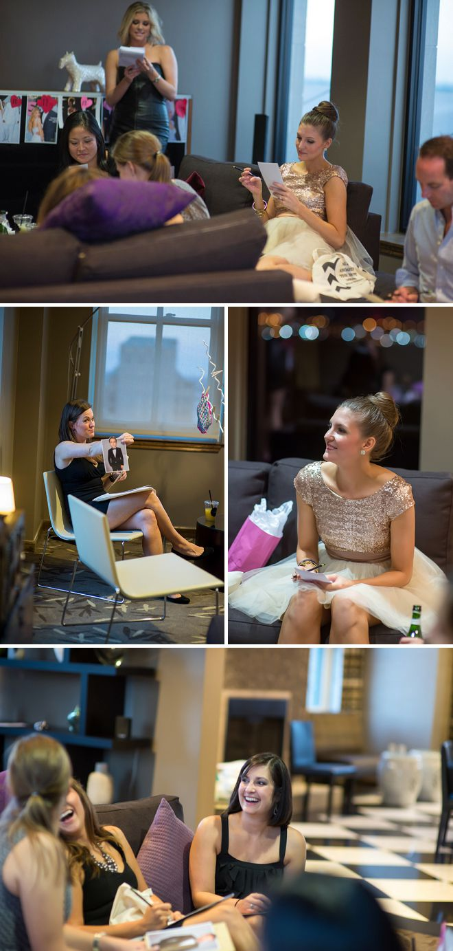 Girls play games at their downtown Houston bachelorette party