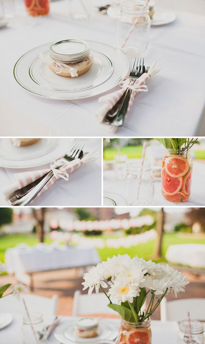 Close up details from a rustic garden bridal shower