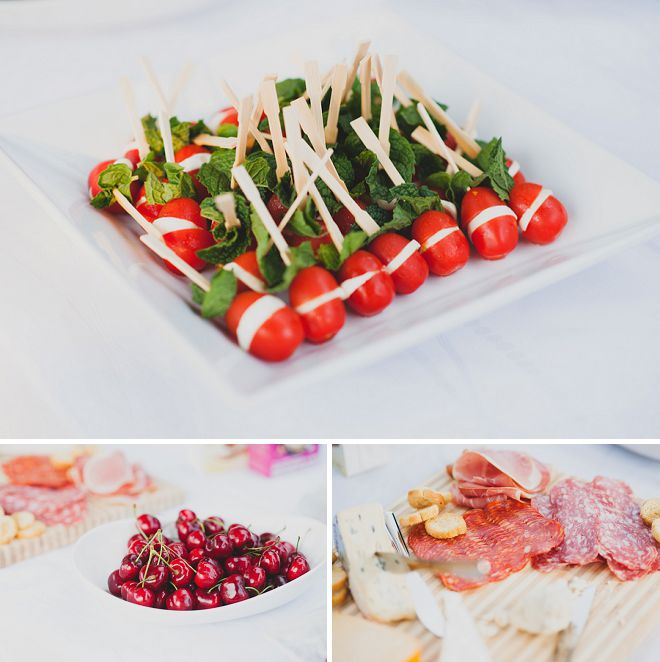 Finger foods and appetizers from a blushing pink surprise bridal shower