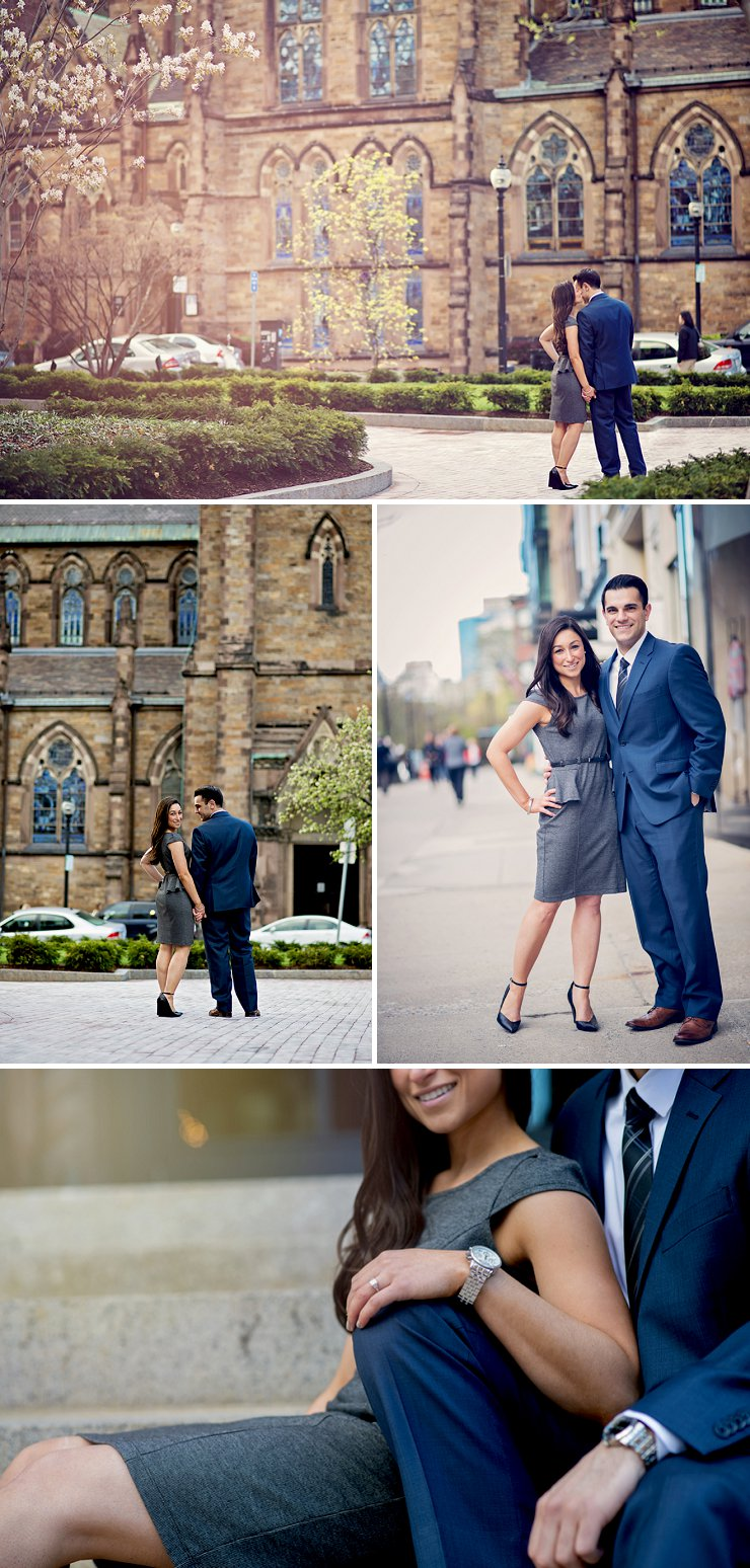 College engagement session in front of the Boston Public Library