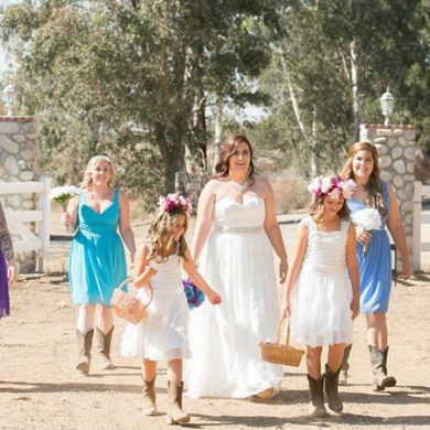 Blue ombre country wedding featured