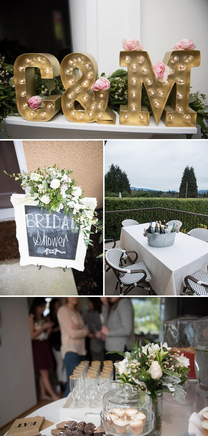 Statement signs for a gold bridal shower