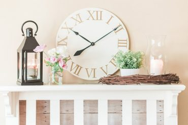 DIY clock and fireplace inspired by Pottery Barn