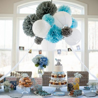 Storybook themed baby shower dessert table