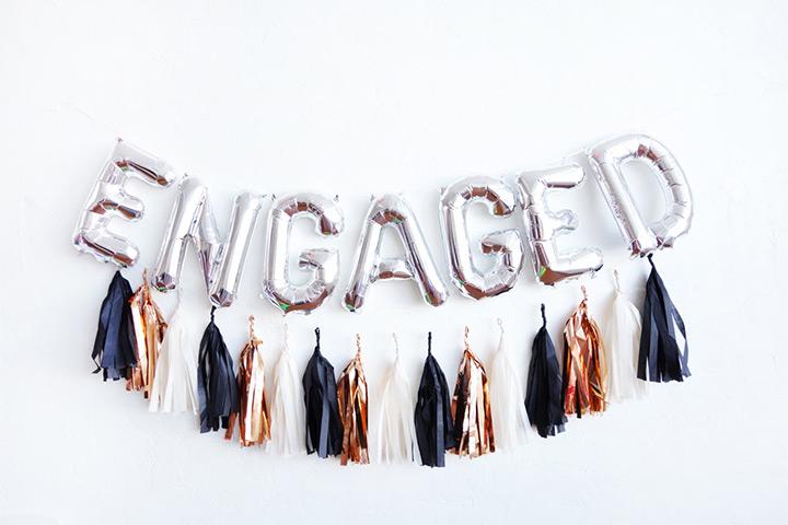 Engagement tassel balloon banner