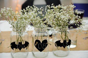 Rustic Batman wedding centerpieces