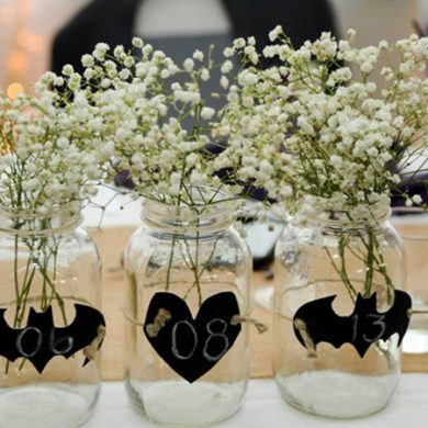 Rustic Batman wedding centerpieces