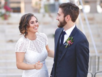 Real bride wearing the Monica Gown from BHLDN