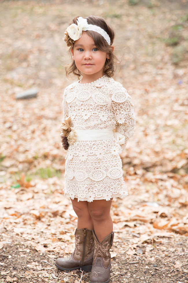 Rustic long sleeved lace flower girl dress