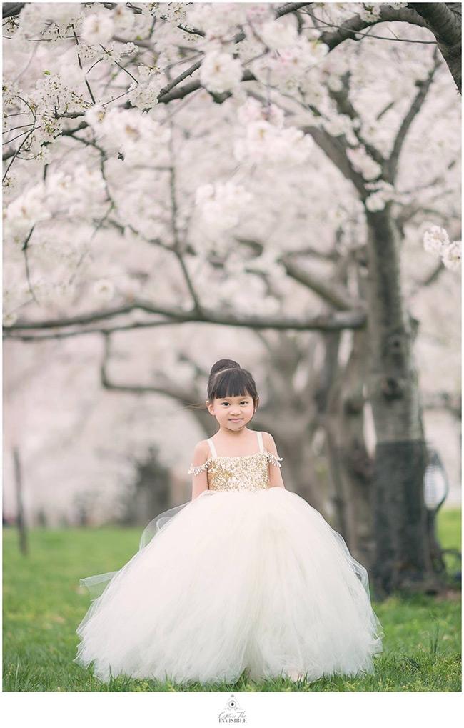 Gold sequin tulle flower girl dress