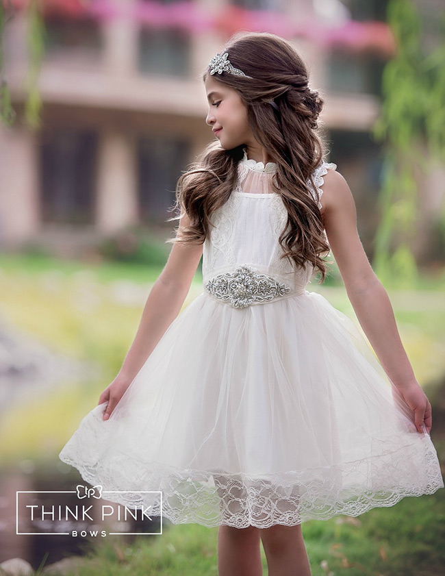 Ivory lace tulle flower girl dress with blingy sash