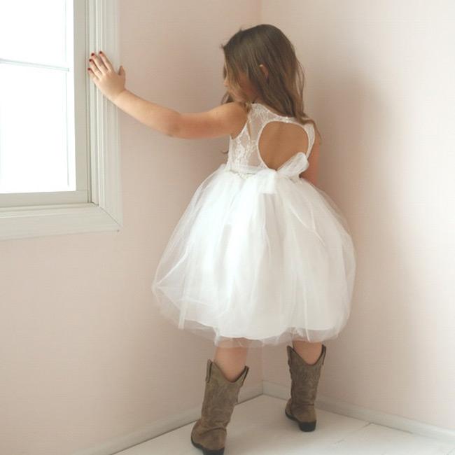 Open back rustic flower girl dress