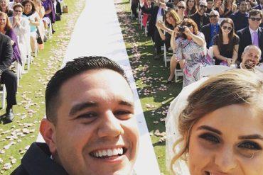Couple selfie on their wedding day
