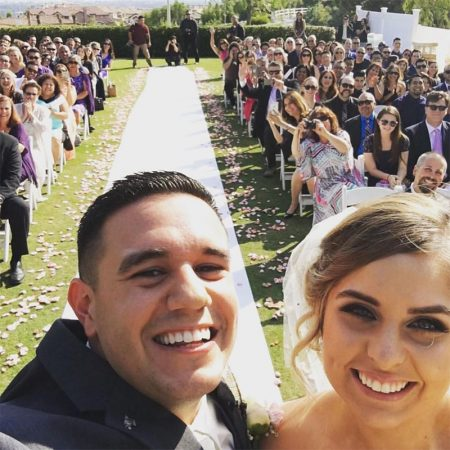 Couple selfie on their wedding day