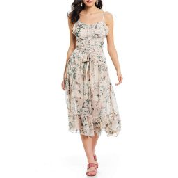 The perfect nursing wedding guest dress! Floral print tie front ruffle midi dress.