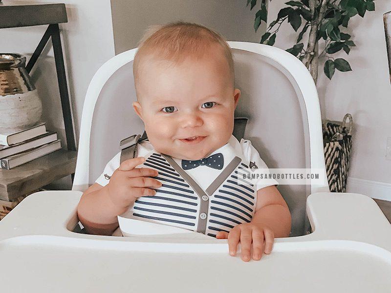 Baby wearing gentleman silicone baby bib