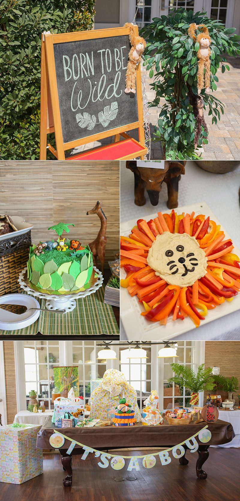 Clever decorations and snacks for a jungle baby shower