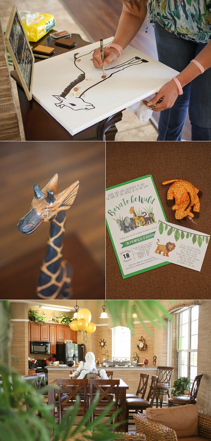 Giraffe guest book idea for a jungle baby shower