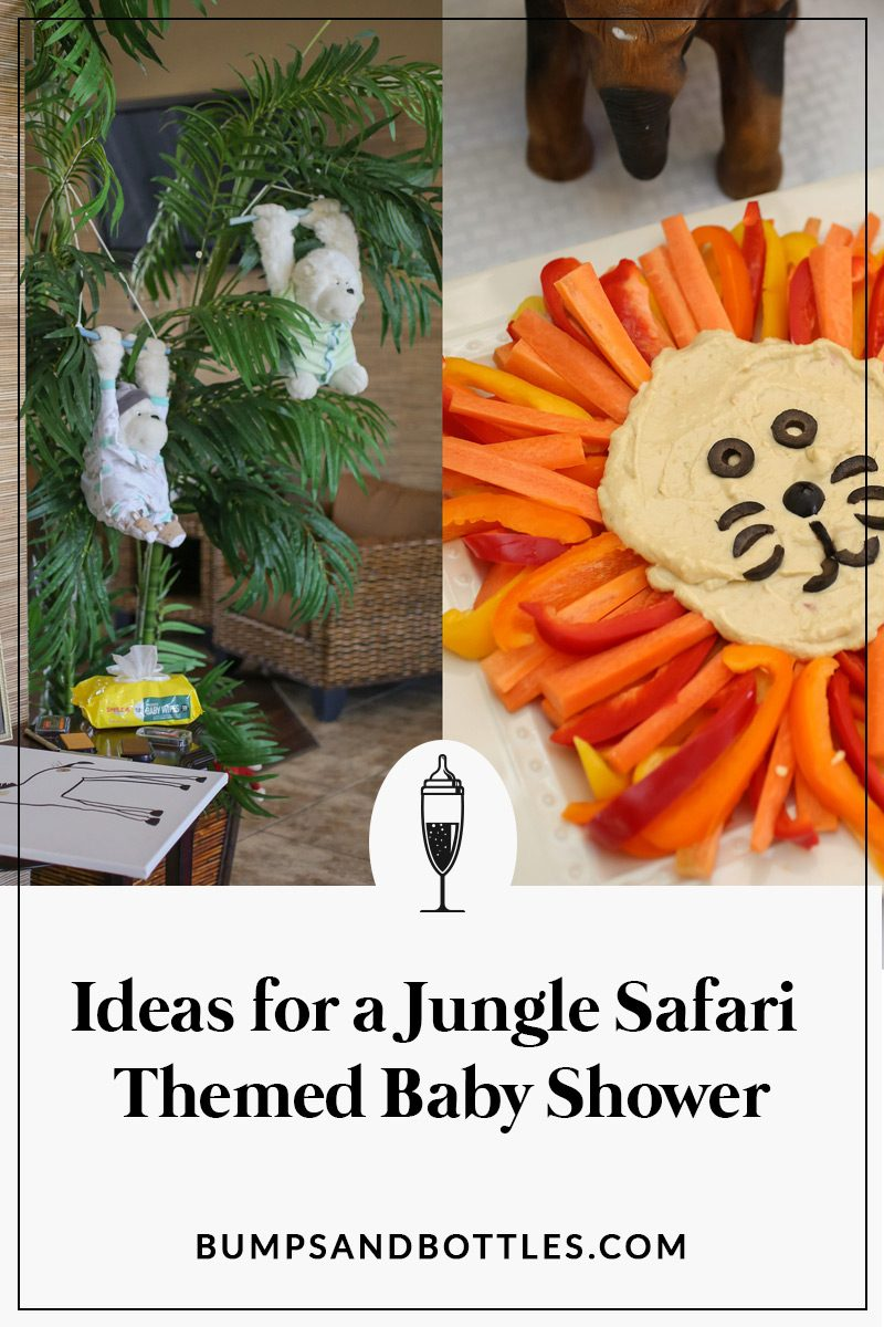Ideas for a jungle themed baby shower Pinterest image