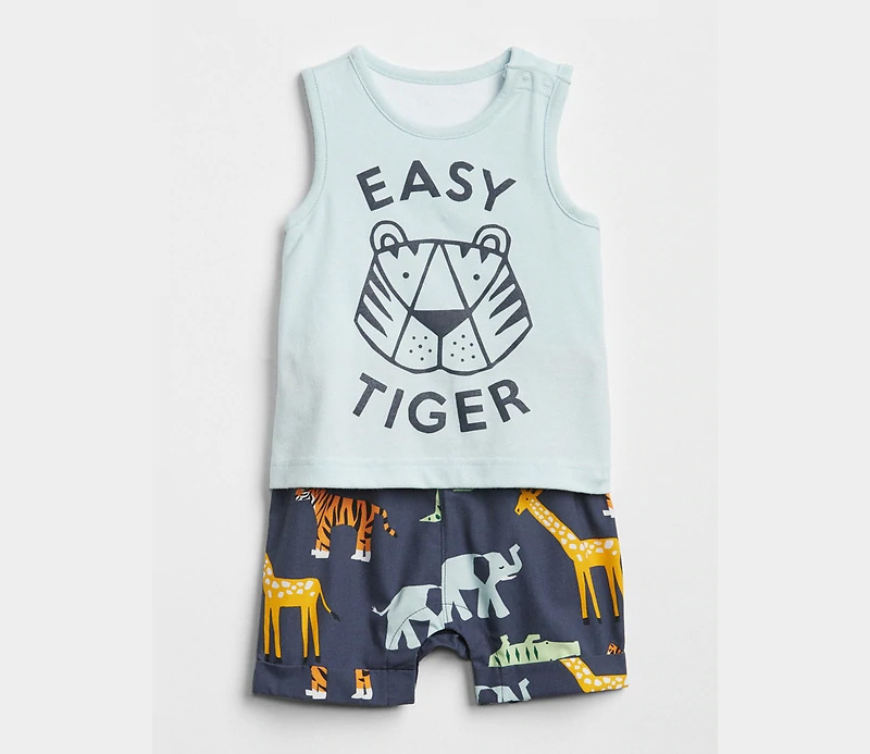 Easy Tiger shorty one piece baby boy outfit