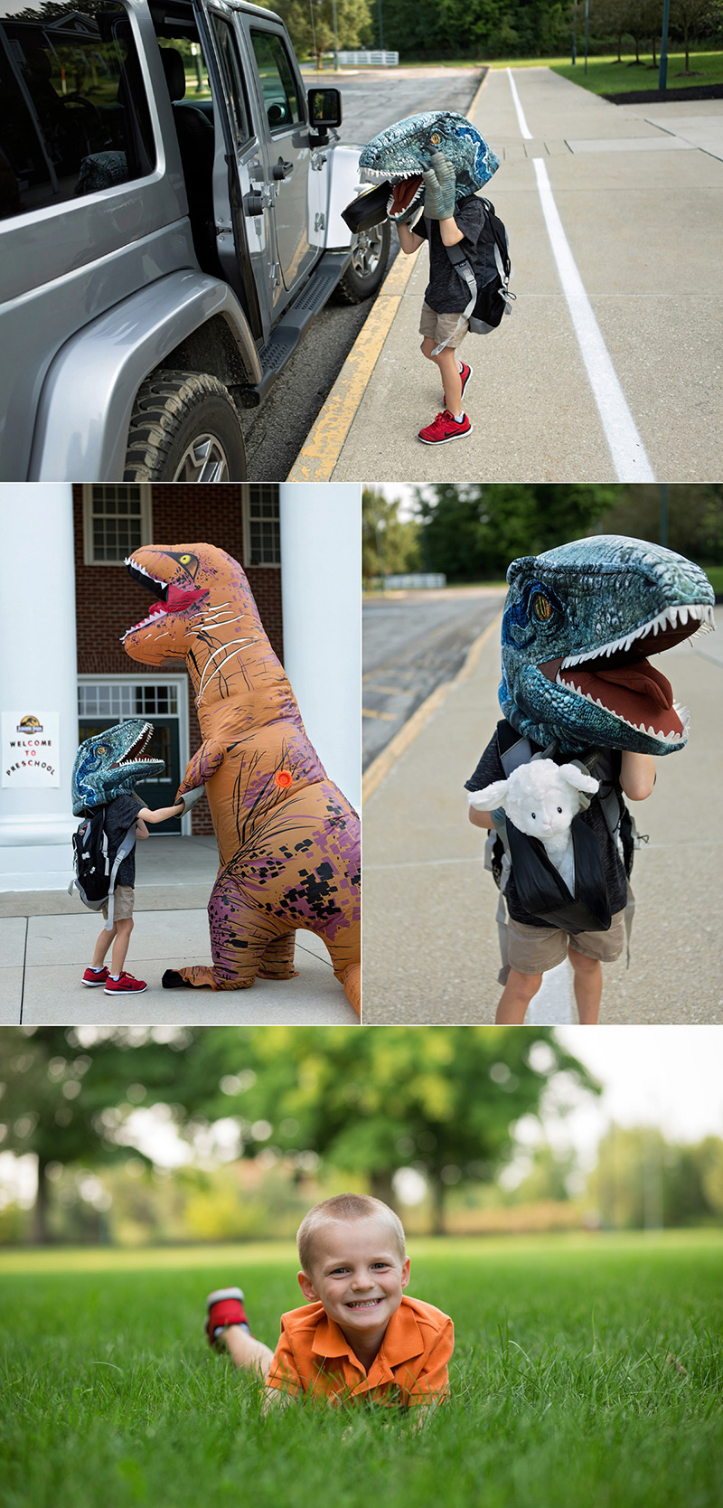 Mom and son dress up like dinosaurs for Jurassic park back to school shoot