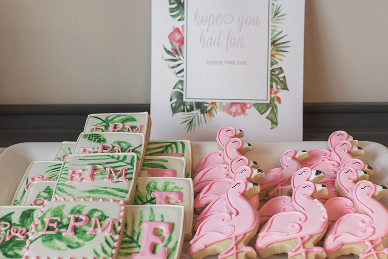 Flamingo sugar cookies from a flamingo baby shower
