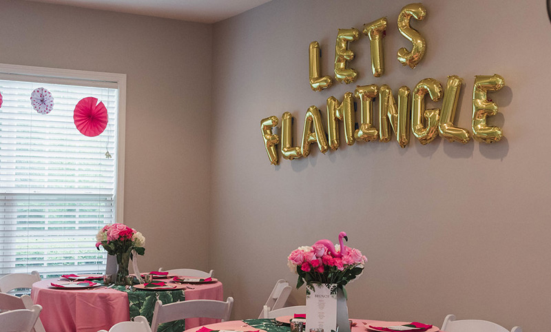 Let't Flamingle gold balloon banner
