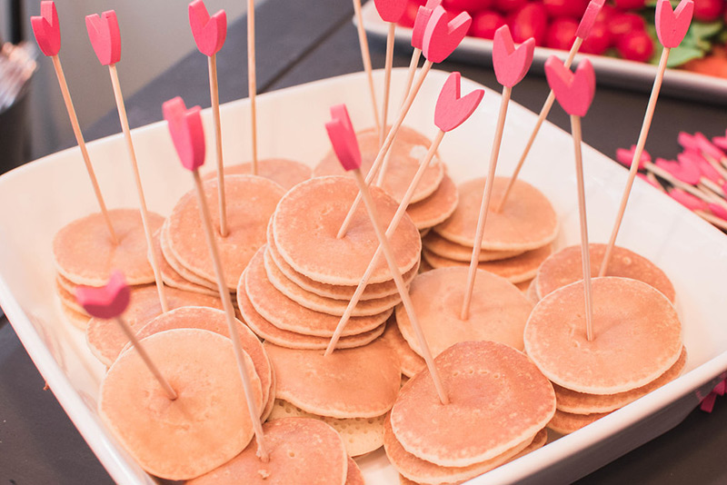 Mini pancakes from flamingo baby shower brunch