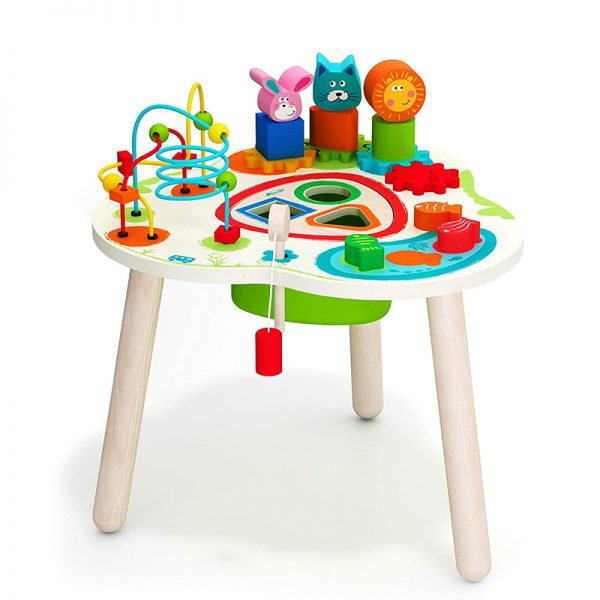 Wooden Activity Table with Bead Maze and Beads Wire