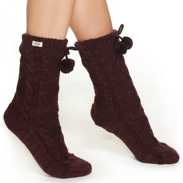 Dark maroon Ugg Fleece lined slipper socks with fuzzy pompom ties
